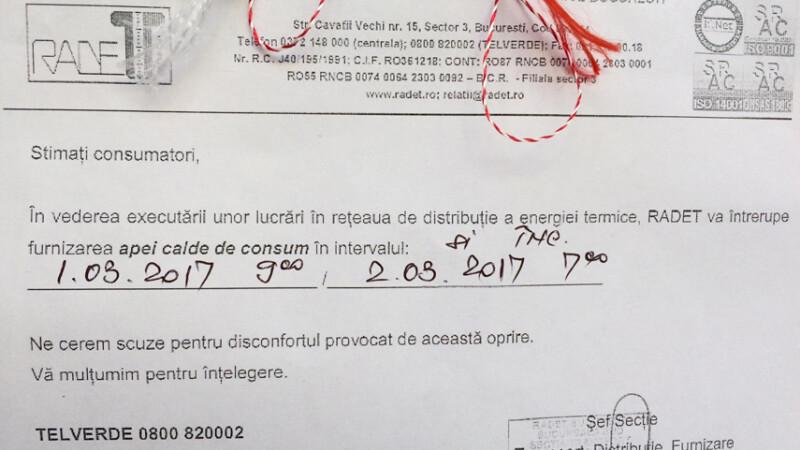Martisorul trimis de RADET locuitorilor din sectorul 4 al Capitalei. Ce au primit de 1 Martie de la Regie