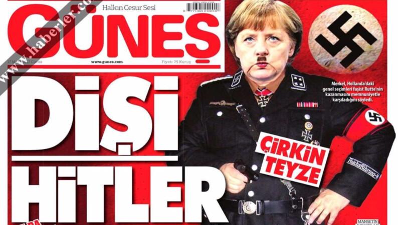 Un ziar turc pro Erdogan a publicat pe prima pagina un montaj foto in care Angela Merkel e comparata cu Hitler