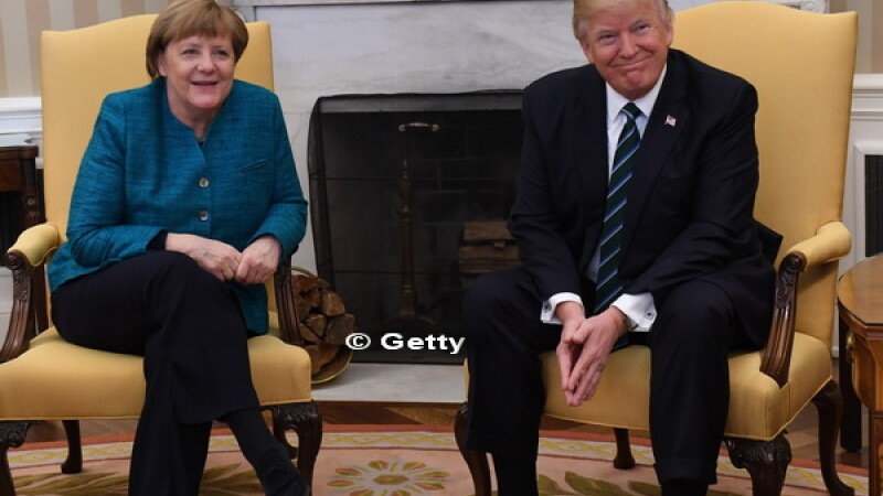 Angela Merkel s-a intalnit pentru prima data cu Donald Trump la Casa Alba. Moment stanjenitor in timpul discutiilor. VIDEO