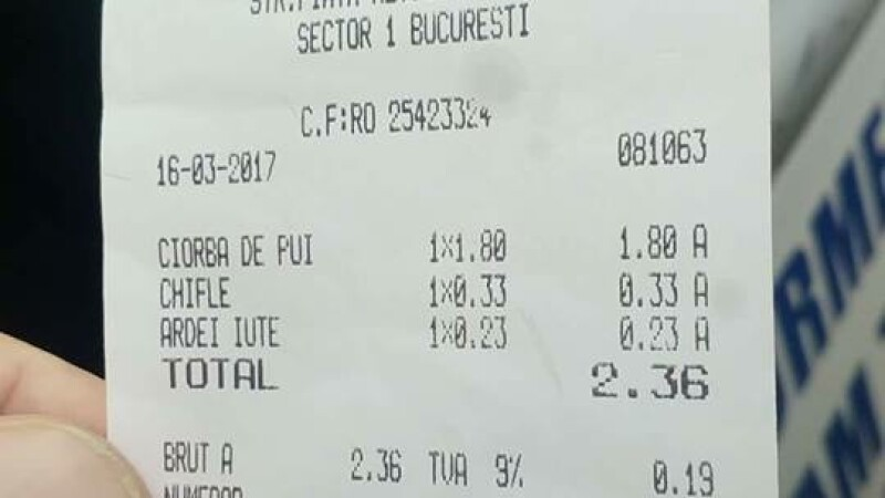Cantina unde ciorba costa doar 1,8 lei si un ardei iute 0,2 lei. Politistul Marian Godina a publicat bonul fiscal pe Facebook