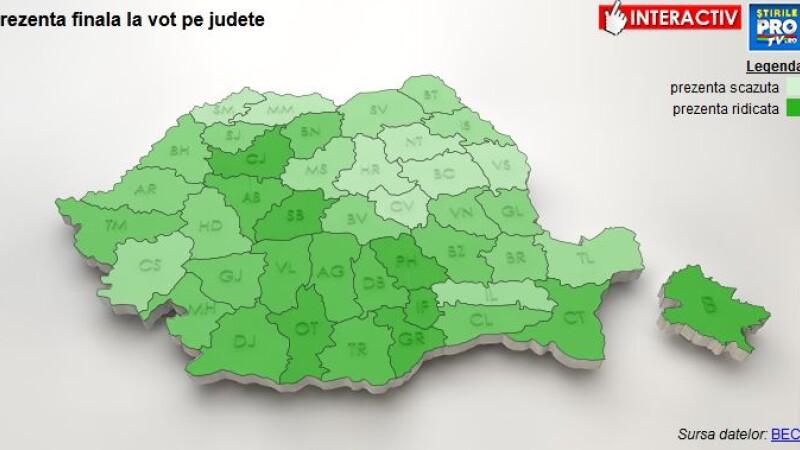 ALEGERI PREZIDENTIALE 2014, TURUL DOI. Harta prezentei la vot. Cei mai harnici: Ilfov, Cluj si doua sectoare ale Capitalei