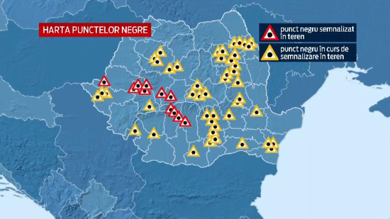 Noul semn de circulatie introdus in Codul Rutier care indica zonele cu risc de accidente. HARTA punctelor negre din Romania