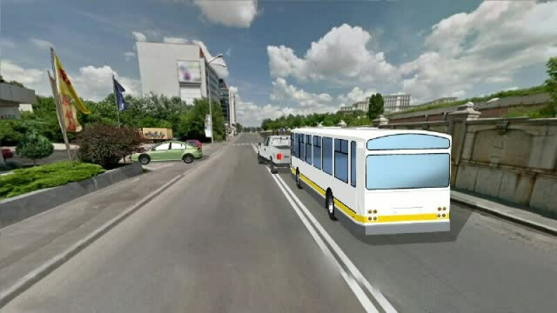 ANIMATIE GRAFICA: autobuz RATB, implicat intr-un accident rutier. Zece persoane au fost ranite