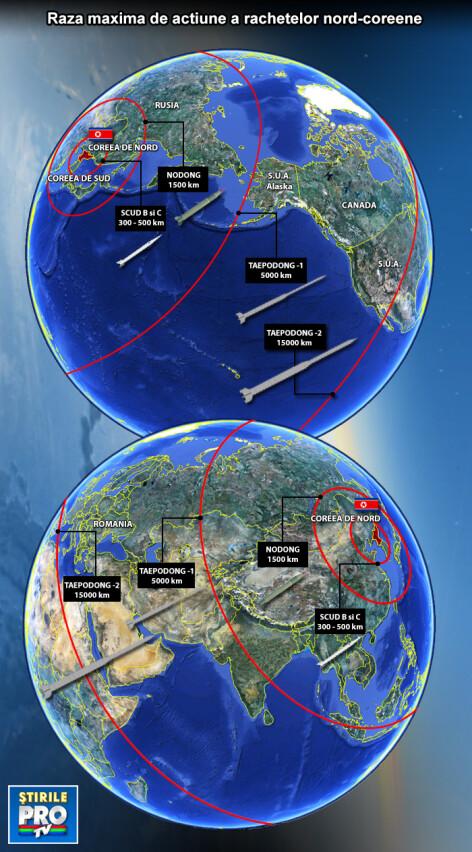 HARTA razei de actiune a rachetelor Phenianului
