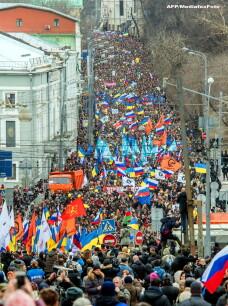 Proteste la Moscova fata de interventia Rusiei in Ucraina