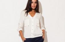 Bluza cu buzunare pe bust - Ecru K115