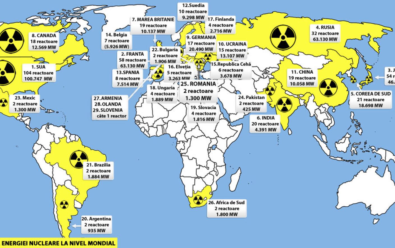 Harta Si Topul Puterilor Nucleare Ale Lumii 442 De Reactoare