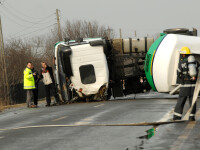 Alerta pe DN67D, langa Targu Jiu: o cisterna cu GPL s-a rasturnat