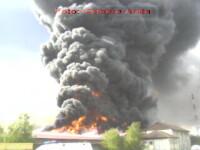 Incendiu de proportii la Satu Mare! O fabrica de mobila, distrusa