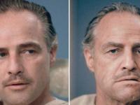 Marlon Brando, inainte si dupa machiajul pentru Don Corleone din