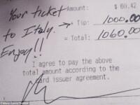 Clientul i-a lasat un bacsis cat pentru o vacanta in Italia, la propriu. Ce i-a scris pe nota de plata