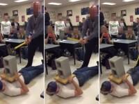 Un profesor face in fata elevilor sai o demonstratie care se termina prost. Unde loveste cu toporul. VIDEO