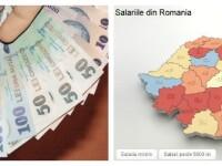 Harta salariilor din Romania. Cati romani primesc peste 5.000 de lei si cati sunt platiti cu minimul pe economie. INFOGRAFIC