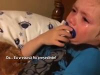 Reactia amuzanta a unui baietel de 3 ani cand afla ca Hillary Clinton candideaza la presedintie: VIDEO