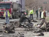 Accident grav in judetul Brasov. Un barbat a murit dupa ce masina lui s-a facut praf in coliziunea cu un camion