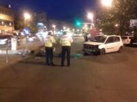 Grav accident in Bucuresti. O masina a intrat in refugiul de tramvai si a ranit doi oameni