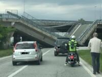 Un pod s-a prabusit subit peste o masina a politiei italiene. Ce s-a intamplat cu agentii aflati in autoturism. VIDEO