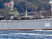 Nave de război ruse încărcate cu tancuri şi echipamente militare, în drum spre Siria
