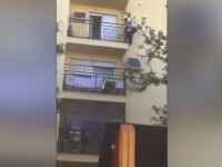 Momentul în care un imigrant escaladează un bloc pentru a salva o femeie. VIDEO