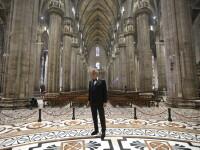 VIDEO Concert inedit în Domul din Milano. Ce a cântat Andrea Bocelli singur în catedrală
