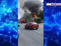 Camion în flăcări, pe o stradă din Cluj-Napoca. De ce a devenit aerul toxic