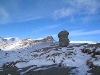 La munte s-a instalat iarna! Este viscol pe Platoul Bucegilor