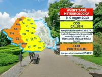 Cod portocaliu de canicula in Romania, cu 40 grade la umbra. Harta zonelor afectate azi si maine