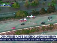 Momentul în care un avion aterizează pe o șosea circulată