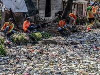 Un râu de gunoaie. Apa nu se mai vede deloc din cauza deșeurilor. GALERIE FOTO