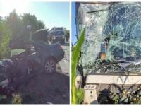 Mercedes făcut praf în urma impactului cu un autocar, în Bihor. Șoferul mașinii a murit