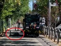 """Caz incredibil. """"Mașina de măturat a Primăriei Sectorului 3 trece cu peria"""" peste un om leșinat"""