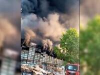 Un incendiu a cuprins o hală de producție a polistirenului în județul Dâmbovița