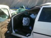 O șoferiță și-a distrus mașina după ce a lovit violent o autoutilitară. De ce nu a văzut vehiculul din fața ei