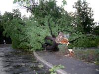Furtuna puternica in Moscova. O macara, daramata peste o cladire