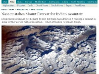 NASA a confundat varful Everest cu un munte indian, starnind indignare in Nepal
