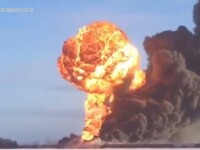 Cod Rosu in Dakota de Nord. Doua trenuri de marfa s-au ciocnit. VIDEO cu momentul exploziei