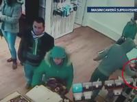 Momentul in care un hot din Gherla pleaca dintr-un magazin cu un telefon de 2.000 de lei. Imagini camera de supraveghere