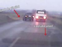 Accident spectaculos in Botosani: un sofer s-a rostogolit cu masina, dupa o depasire periculoasa. Totul a fost filmat