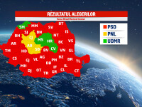REZULTATE ALEGERI PARLAMENTARE. Harta Romaniei s-a inrosit: PSD a castigat in 35 de judete, PNL, in 3. Cum a votat diaspora