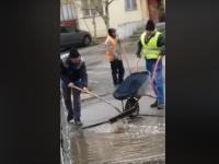 Momentul viral când mai mulți muncitori asfaltează o groapă din Călărași. VIDEO
