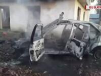 O mașină fără număr de înmatriculare a fost incendiată în Slatina