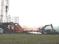 Sonda din Satu Mare arde neîncetat de 10 zile. Pompierii au fost nevoiți să reaprindă focul