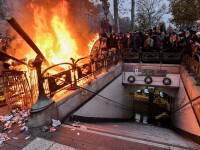 Transportul în Franța, perturbat pentru a treia zi la rând. Proteste în marile orașe