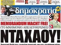 Seful Bosch crede ca Grecia trebuie EXCLUSA din UE. Uniforma nazista pentru Merkel in presa elena