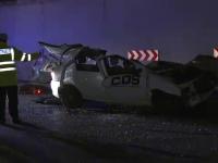 Accident violent la intrarea pe A1.Un tanar a murit dupa ce a cazut cu masina intr-un pasaj
