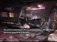 Limuzina unui politist din Tulcea, incendiata cu cocktailuri molotov. \