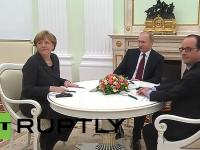 Merkel si Hollande au ajuns la Moscova, unde ii propun lui Putin un plan de pace in Ucraina. Mesajul transmis de Rusia