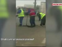 Muncitorii si-au bagat picioarele in asfaltare, la propriu. Imaginile antologice surprinse in timpul