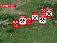 Harta minelor pe care Romania vrea sa le inchida pana in 2018. 300 de mineri raman blocati in subteran, in semn de protest