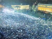 Moment istoric la protestele din Romania. 280.000 de romani oameni au luminat Piata Victoriei